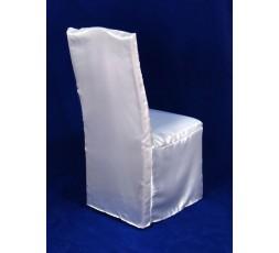 Biały pokrowiec na krzesło z satyny PKKCN