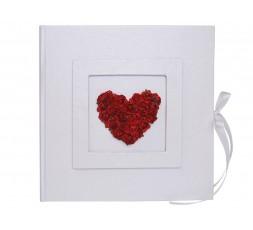 Biała księga z sercem z czerwonych rózyczek KWA26