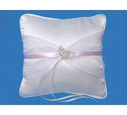 Poduszka z białym tiulem i srebrnym motylkiemPKW10