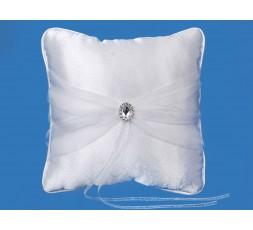 Biała poduszka z tiulem i srebrną aplikacją PKW11
