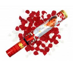 Tuba granat serca białe i czerwone płatki róż TUKG50